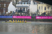 Greater London. United Kingdom, University Boat Races , Cambridge University Goldie celebrate victory in the reserve race. Putney to Mortlake,  Championship Course, River Thames, London. <br /> <br /> Saturday  24.03.18<br /> <br /> [Mandatory Credit  Intersport Images]