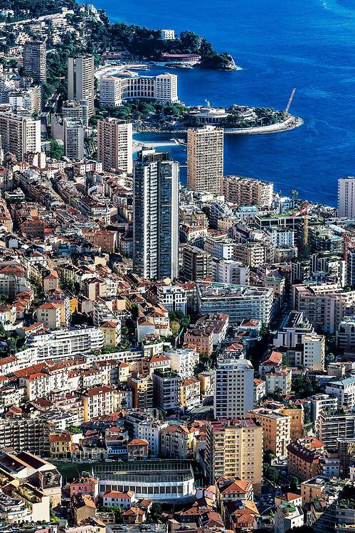 Aerial view of downtown Monte Carlo, Monaco