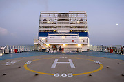Helipad on deck of Brittany Ferries roll-on / roll-off car and vehicles ferry on 14th September 2021 in Plymouth, United Kingdom. Brittany Ferries is the trading name of the French shipping company, BAI Bretagne Angleterre Irlande S.A. founded in 1973 by Alexis Gourvennec, that operates a fleet of ferries and cruise ferries between France and the United Kingdom.