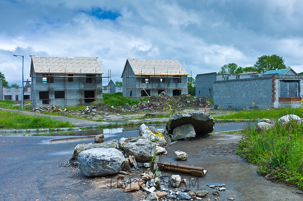 Sign of financial crisis and end of the Celtic Tiger economy,  half-finished new housing at Rathkeale, Co. Limerick, Ireland