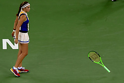 WUHAN,  Sept. 28,  2017 Jelena Ostapenko of Latvia throws her racket during the singles quarterfinal match against Garbine Muguruza of Spain at 2017 WTA Wuhan Open in Wuhan, capital of central China's Hubei Province, on Sept. 28, 2017. (Credit Image: © Ou Dongqu/Xinhua via ZUMA Wire)