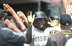 August 10, 2017 - Detroit, MI, USA - The Pittsburgh Pirates' Josh Bell high-fives his teammates after his two-run home run against the Detroit Tigers in the third inning on Thursday, Aug. 10, 2017, at Comerica Park in Detroit. The Pirates won, 7-5. (Credit Image: © Kirthmon F. Dozier/TNS via ZUMA Wire)
