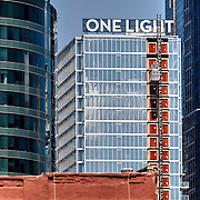 Construction of One Light Tower residential highrise in downtown Kansas City, Missouri nearing completion in August, 2015.