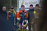 Your MX1 podium, from left to right, Dutch riders Glen Coldenhoff (2nd) and Jeffrey Herlings (1st), with French rider Gautier Paulin (3rd). As only KTM and Husqy made the podium, you could say it was an all-Austrian affair in MX1.