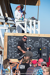 The judging tower and scoring board at the Race of Gentlemen. Wildwood, NJ, USA. October 11, 2015.  Photography ©2015 Michael Lichter.