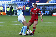 Liverpool defender Leighanne Robe (3) and Manchester City forward Ellen White (18) come together in the box. No penalty during the FA Women's Continental Cup match between Liverpool Women and Manchester City Women at the Prenton Park, Wirral, United Kingdom on 4 November 2020.