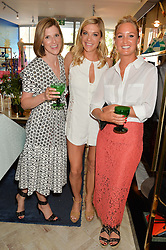 Left to right, ELIZABETH PELLY, CHELSY DAVY and LADY MELISSA PERCY at the launch of AYA jewellery by Chelsy Davy held at Baar & Bass, 336 Kings Road, London on 21st June 2016.