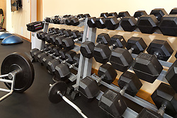exercise barbells on rack in personal gym