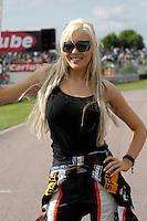 2008 British Touring Car Championship.Thruxton Circuit, Hampshire, United Kingdom.  17th-18th May 2008..Team Halfords Dynamics Grid Girl.World Copyright: Peter Taylor/PSP