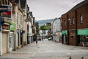 MERTHYR TYDFIL, WALES - 09 MAY 2020: A very empty Merthyr high street on a Saturday afternoon during the Wales covid19 lockdown.