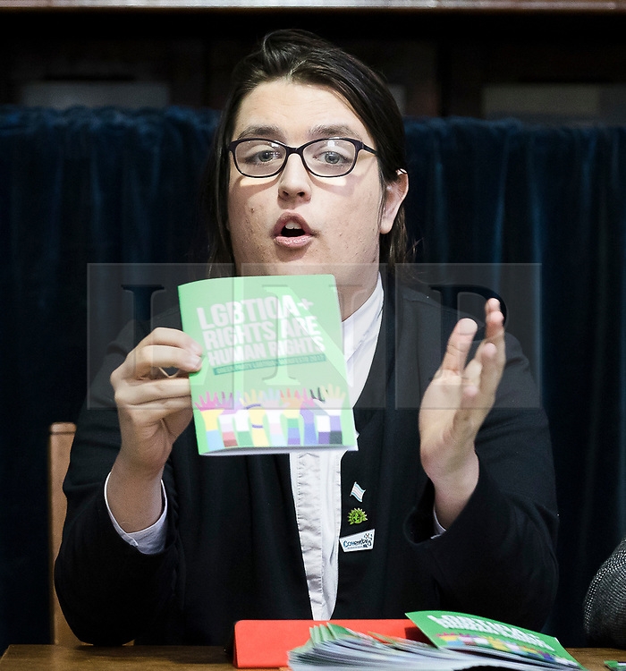 © Licensed to London News Pictures. FILE PICTURE 28/04/2017. LONDON, UK. AIMEE CHALLENOR, Green Party LGBTIQA+ spokesperson at the Green Party LGBTIQA+ manifesto launch, at Trinity United Reform Church in London. AIMEE CHALLENOR has resigned form the Green Party after it was revealed that she hired her father, David Challenor, as agent for her Parliament campaign, despite him being charged with child sex offences. Mr Challenor, aged 50, was later convicted for rape and torture of a child and jailed for 22 years. Photo credit: Vickie Flores/LNP
