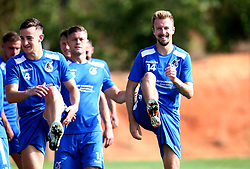 Chris Lines of Bristol Rovers smiles as he warms up with teammate as Bristol Rovers train on their first day in Portugal - Mandatory by-line: Robbie Stephenson/JMP - 18/07/2017 - FOOTBALL - Colina Verde Golf & Sports Resort - Moncarapacho, England - Sky Bet League One