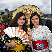 Japan Matsuri 2018 in Trafalgar square. The programs is too slow people getting bored waiting and swamp by white girls dresses in Cosplay costume saves the day in London, UK. 30 September 2018.