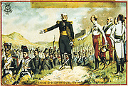 General Joseph Barbanegre (1772-1830) surrendering the  of Hunigue to the Austrians, 26 August 1815.   The French garrison of 135 was allowed to march out of the city with full military honours.  Barbanegre with Archduke John of Austria.  Trade card c1900. Chromolithograph