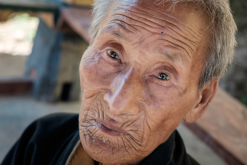 THIMPHU, BHUTAN - CIRCA OCTOBER 2014: Old Bhutanese man close to the Memorial Chorten in Thimphu