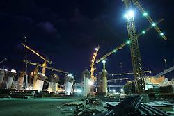 The Sayaboury Mekong mainstream hydro power dam construction at night, Sayaboury Province, Lao PDR.
