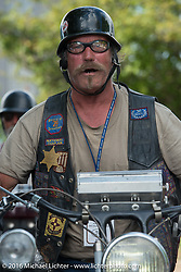 Rowdy Schenck of New Mexico after crossing the finish line in Springfield, MO. Motorcycle Cannonball Race of the Century. Stage-6 from Cape Girardeau, MO to Springfield, MO. USA. Thursday September 15, 2016. Photography ©2016 Michael Lichter.