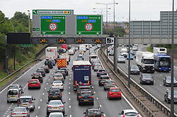 © Licensed to London News Pictures. 22/07/2017<br /> HEAVY TRAFFIC IN BOTH DIRECTIONS<br />  (LEFT)Anti-clockwise traffic at Junction 1b M25 Dartford,Kent.<br /> Drivers to face sun,wind and rain weather conditions as the great summer holiday weekend getaway continues today with millions of drivers taking to the UK's roads. <br /> Photo credit: Grant Falvey/LNP