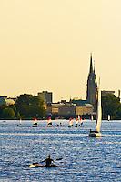 Sailboats and sculls (rowboats), Alster Lake, Hamburg, Germany