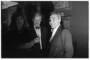 GEOFFREY WHEATCROFT; TAKI, MATHEW CARR  AND lady Anne Somerset engagement drinks. Elgin ave. London. 5 February 1988. SUPPLIED FOR ONE-TIME USE ONLY> DO NOT ARCHIVE. © Copyright Photograph by Dafydd Jones 248 Clapham Rd.  London SW90PZ Tel 020 7820 0771 www.dafjones.com