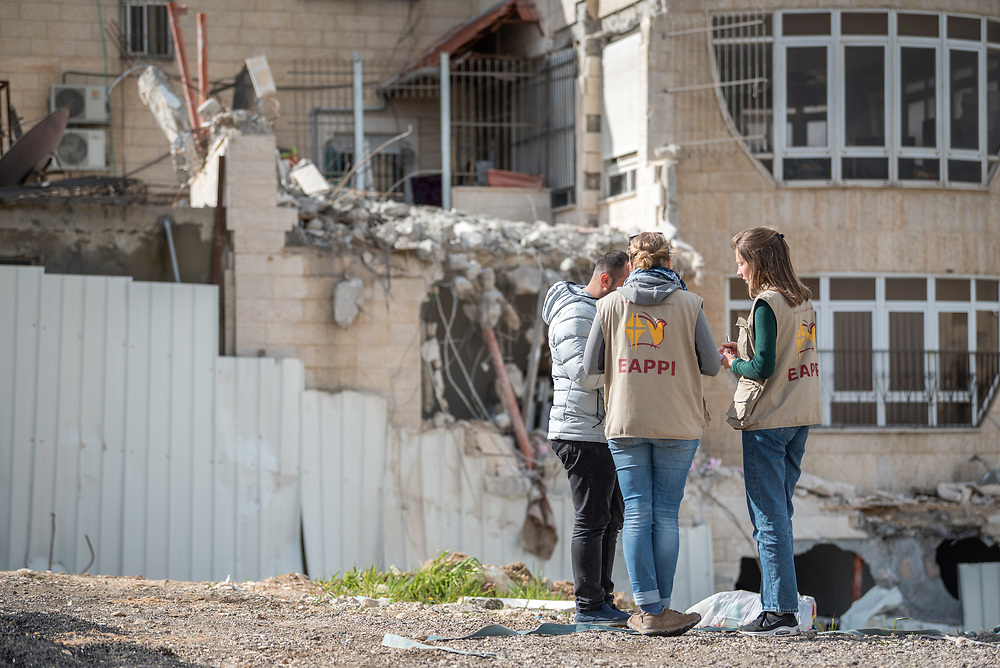 29 February 2020, Jerusalem: 26-year-old Mohammad Bashiti shows his home in the Shu'fat village in Jerusalem to participants in the Ecumenical Accompaniment Programme in Palestine and Israel (EAPPI), where he has just had a part demolished. As building permits are notoriously difficult, in some cases impossible, for Palestinians to obtain, demolition of houses stated not to have the relevant permits is common in the area. This time, the family lost their living room, two bathrooms, and kitchen.