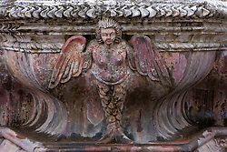 Statue of angel, part of fountain called the Fuentes de Pescados at ruins of cloisters at Le Merced, Antigua, Guatemala