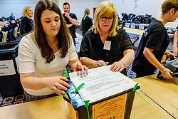 General Election 2017 Dumfries Count :: Boxes arrive and are verified and the count gets underway<br /> <br /> <br /> (c) Andrew Wilson | Edinburgh Elite media