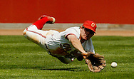 (OSUB17 ZNIDAR SHILLING 4/17/04) Ohio State's Mike Rabin dives for a ball hit to right field by Michigan State's Tony Clausen in the third inning of the first game of their double-header at Bill Davis Stadium. Clausen would eventually reach third base on the play.(Photos for the Dispatch by Will Shilling)