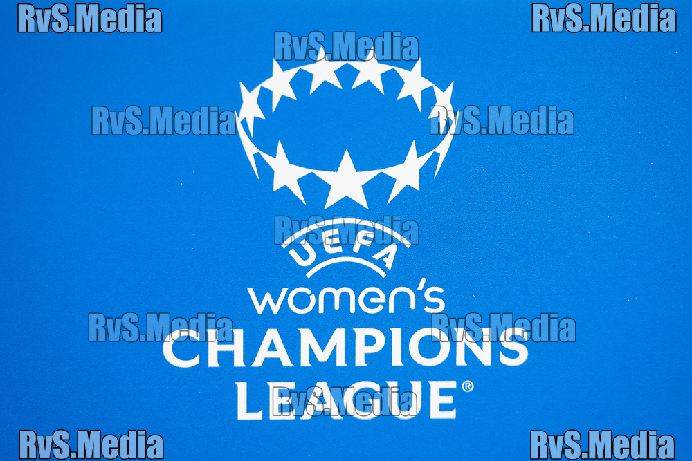 GENEVA, SWITZERLAND - OCTOBER 06: A view of the UEFA Women's Champions League logo before the UEFA Women's Champions League group A match between Servette FCCF and Juventus at Stade de Geneve on October 6, 2021 in Geneva, Switzerland. (Photo by Basile Barbey/RvS.Media)