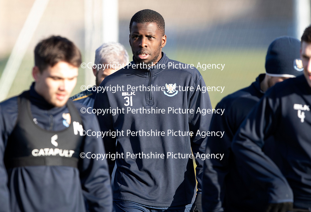 St Johnstone Training…18.01.19    McDiarmid Park<br />Trialist Lionel Zouma pictured during training this morning<br />Picture by Graeme Hart.<br />Copyright Perthshire Picture Agency<br />Tel: 01738 623350  Mobile: 07990 594431
