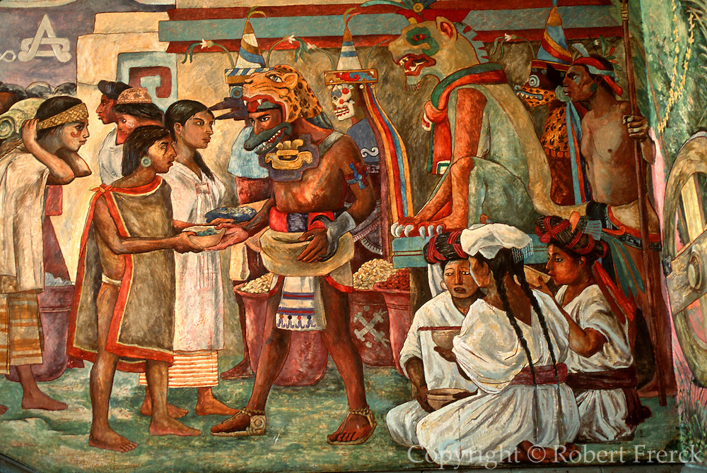 MEXICO, SOUTH, OAXACA STATE Oaxaca, Governors Palace with mural of Oaxacan history shows Mixtec Indian w/offerings to priests and gods