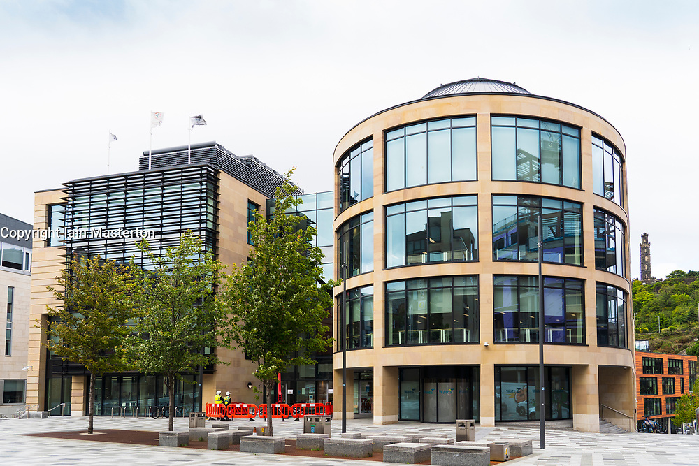 Edinburgh, Scotland, UK. 28 July, 2020. View of new Queen Elizabeth House in Edinburgh. Several UK Government departments are to move into the new offices and the Prime Minister has proposed that Cabinet meetings are held here in future.  Iain Masterton/Alamy Live News