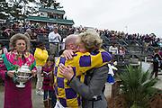 Colonial Cup - Camden, South Carolina. Trainer Janet Elliot hugs jockey Xavier Aizpuru after the Colonial Cup.