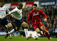 Photograph: Scott Heavey.<br />Tottenham Hotspur v Middlesbrough. FA Barclaycard Premiership. 26/10/2003.<br />Malcolm Christie tries to find a way past Stephen Carr