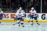 REGINA, SK - MAY 20: Cameron Hebig #41 of Regina Pats skates to the bench to celebrate a first period goal against the Acadie-Bathurst Titan at the Brandt Centre on May 20, 2018 in Regina, Canada. (Photo by Marissa Baecker/CHL Images)