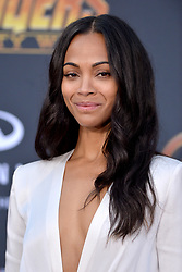 Zoe Saldana attends the World Premiere of Avengers: Infinity War on April 23, 2018 in Los Angeles, CA, USA. Photo by Lionel Hahn/ABACAPRESS.COM
