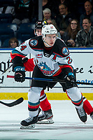 KELOWNA, BC - FEBRUARY 8: Kyle Topping #24 of the Kelowna Rockets looks for the pass against the Portland Winterhawks at Prospera Place on February 8, 2020 in Kelowna, Canada. (Photo by Marissa Baecker/Shoot the Breeze)