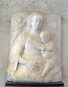 Northern Italy, late fifteenth century. Christ supported by Mary with two angels St. Jerome and St. Mark above. Bas relief.