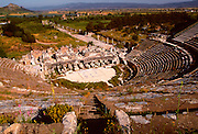 TURKEY, ROMAN CULTURE EPHESUS; the Great Theatre, 1stc. AD; holds 25,000, beyond is the Arcadian Way leading to the old harbor (now dry)
