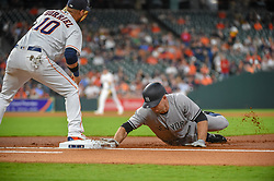May 1, 2018 - Houston, TX, U.S. - HOUSTON, TX - MAY 01: New York Yankees outfielder Brett Gardner (11) beats the throw back to first during the baseball game between the New York Yankees and Houston Astros on May 1, 2018 at Minute Maid Park in Houston, Texas (Photo by Ken Murray/Icon Sportswire) (Credit Image: © Ken Murray/Icon SMI via ZUMA Press)