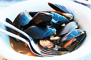 Dinner at a waterfront restaurant. Mussels. Seafood restaurant at Macedonia Palace Hotel. Thessaloniki, Macedonia, Greece
