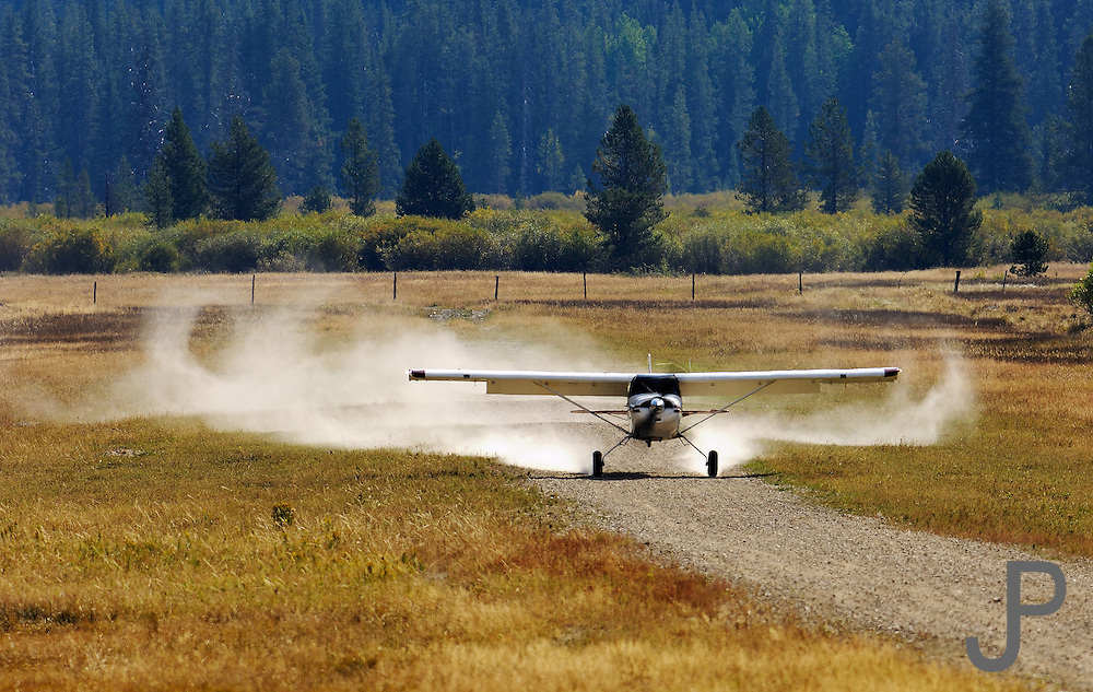 Maule M7-235C N1044L landing on gravel strip at Sulphur Creek, ID.  Located in Frank Church River of No Return Wilderness area, pilots from all around the country fly into this strip for breakfast.  Sulphur Creek is accessible only by air, horseback or hiking.