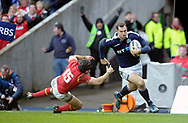 JP License<br /> <br /> RBS Six Nations Championship<br /> Scotland v Wales, Murrayfield Stadium, Edinburgh<br /> <br /> Tim Visser of Scotland rounds Leigh Halfpenny of Wales  to score Scotland's 2nd try<br /> <br /> <br /> <br />  Neil Hanna Photography<br /> www.neilhannaphotography.co.uk<br /> 07702 246823