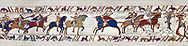 11th Century Medieval Bayeux Tapestry - Scene 48 - Scene 49 - William is told that the Saxon army is close. Battle of Hastings 1066 .<br /> <br /> If you prefer you can also buy from our ALAMY PHOTO LIBRARY  Collection visit : https://www.alamy.com/portfolio/paul-williams-funkystock/bayeux-tapestry-medieval-art.html  if you know the scene number you want enter BXY followed bt the scene no into the SEARCH WITHIN GALLERY box  i.e BYX 22 for scene 22)<br /> <br />  Visit our MEDIEVAL ART PHOTO COLLECTIONS for more   photos  to download or buy as prints https://funkystock.photoshelter.com/gallery-collection/Medieval-Middle-Ages-Art-Artefacts-Antiquities-Pictures-Images-of/C0000YpKXiAHnG2k