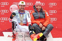 THEMENBILD - Skistar Marcel Hirscher gibt am 4. September seine Zukunftspläne in Salzburg bekannt. Seit seinem ersten Weltcupsieg 2009 in Val d'Isere gewann er den Gesamtweltcup siebenmal in Folge und steht derzeit bei insgesamt 68 Siegen. Damit zählt er zu den erfolgreichsten Skirennläufern der Geschichte. Hier im Bild: Marcel Hirscher (AUT) mit der Kristallkugel für den Sieg im Gesamtweltcup, Saison 2017/2018 und ÖSV Präsident Peter Schröcksnadel // Ski star Marcel Hirscher announces his plans for the future in Salzburg on 4 September. Since winning his first World Cup victory in Val d'Isere in 2009, he has won the overall World Cup seven times in a row and currently has a total of 68 victories. He is one of the most successful ski racers in history. Here in the picture: Marcel Hirscher (AUT) with the crystal ball for the victory in the overall World Cup season 2017/2018 and Ski Austria President Peter Schröcksnadel. EXPA Pictures © 2019, PhotoCredit: EXPA/ Johann Groder