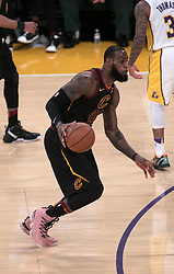 March 11, 2018 - Los Angeles, California, U.S - LeBron James #23 of the Cleveland Cavaliers with the ball during their NBA game with the Los Angeles Lakers on Sunday March 11, 2018 at the Staples Center in Los Angeles, California. Lakers defeat Cavaliers, 127-113. (Credit Image: © Prensa Internacional via ZUMA Wire)