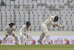 August 28, 2017 - Mirpur, Bangladesh - Australia's Ashton Agar plays a shot  during day two of the First Test match between Bangladesh and Australia at Shere Bangla National Stadium on August 28, 2017 in Mirpur, Bangladesh. (Credit Image: © Ahmed Salahuddin/NurPhoto via ZUMA Press)