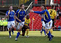 Photo: Richard Lane/Sportsbeat Images.<br />Watford v Cardiff City. Coca Cola Championship. 26/12/2007. <br />Cardiff's Roger Johnson (12) celebrates scoring the first goal.