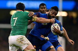 Mathieu Bastareaud of France fends Sean O'Brien of Ireland - Mandatory byline: Patrick Khachfe/JMP - 07966 386802 - 11/10/2015 - RUGBY UNION - Millennium Stadium - Cardiff, Wales - France v Ireland - Rugby World Cup 2015 Pool D.