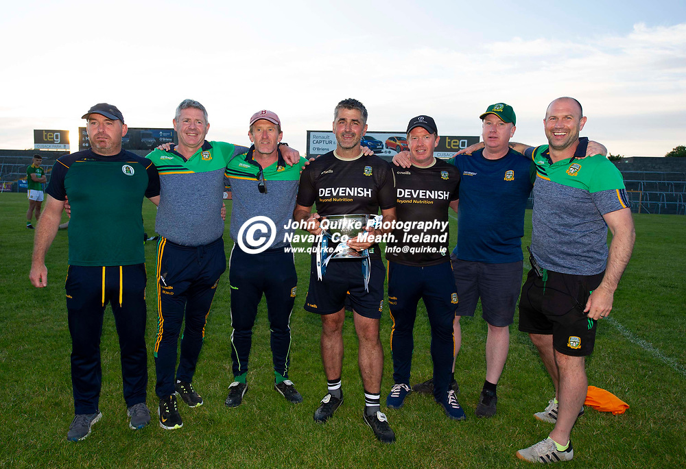 30-06-21. Meath v Offaly - Leinster MFC Final 2020 at TEG Cusack Park, Mullingar.<br /> Meath selectors L to R: Cathal Sheridan, Michael McDonald, John McCarthy (Manager), Joey Farrelly, Paul McCarthy, Justin McCarthy and Paul Nestor.<br /> Photo: John Quirke / www.quirke.ie<br /> ©John Quirke Photography, 16 Proudstown Road, Navan. Co. Meath. (info@quirke.ie / 046-9028461 / 087-2579454).